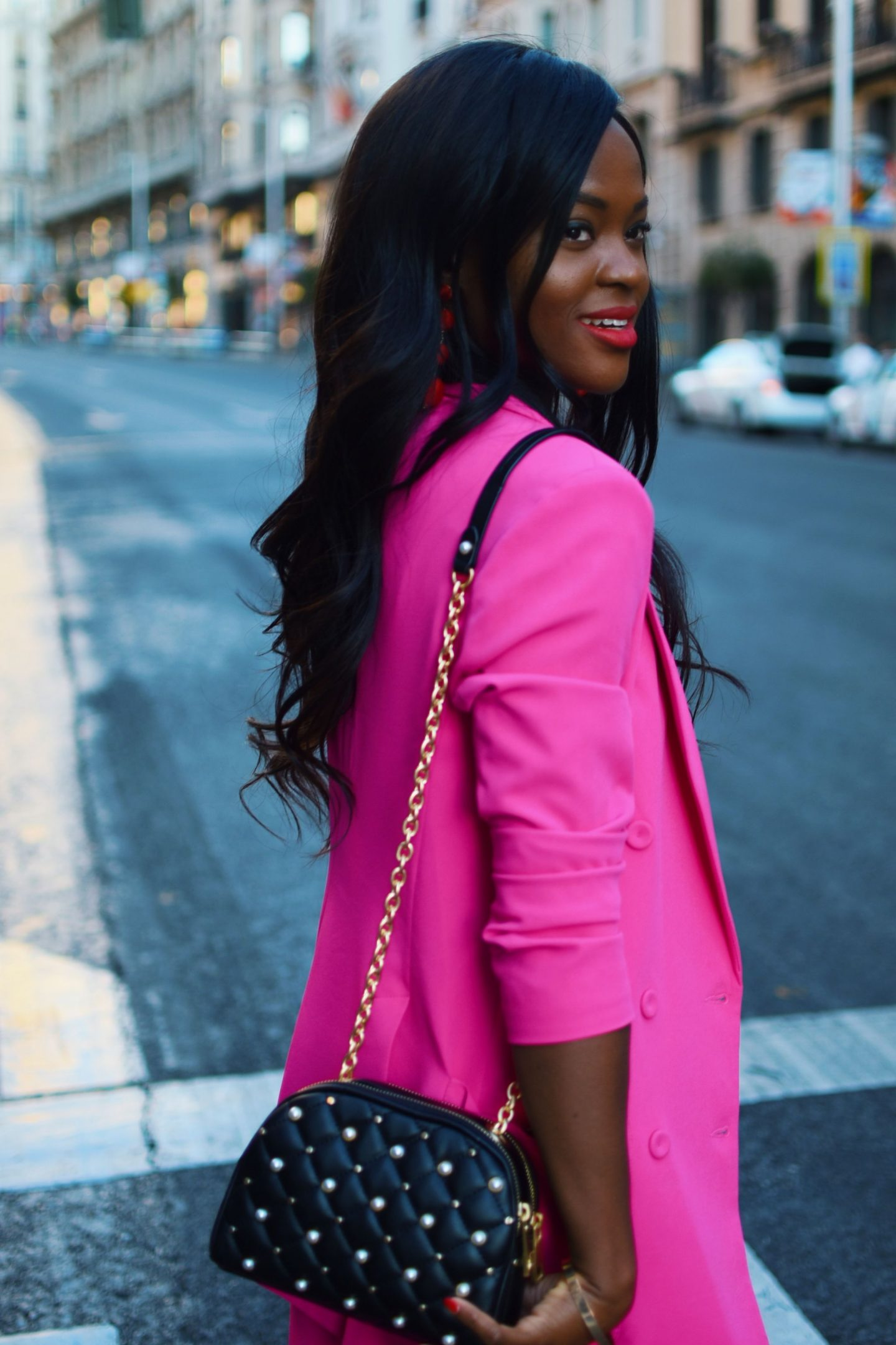 pink suit in Madrid