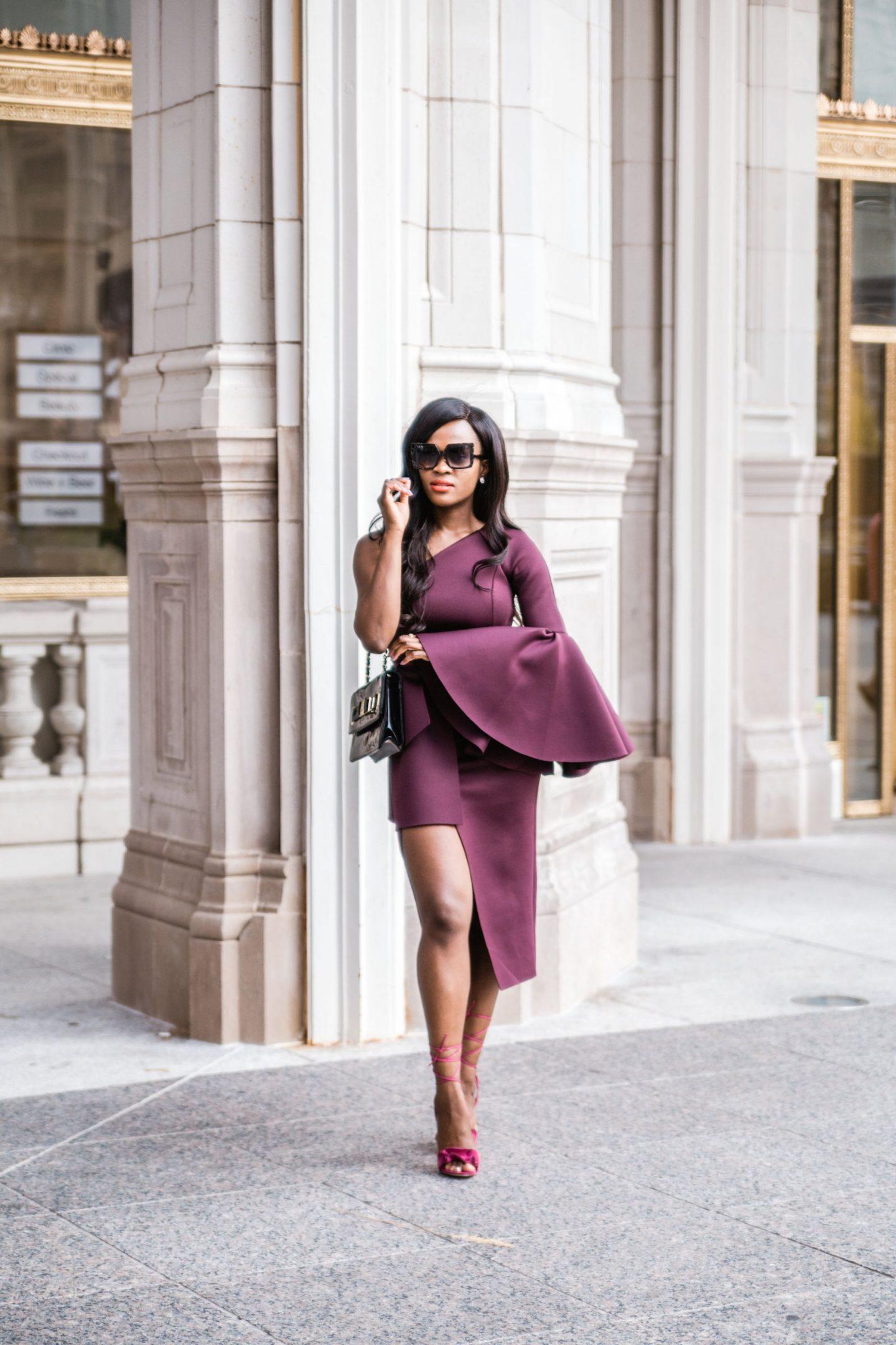 Jennifer Ibe, One shoulder dress