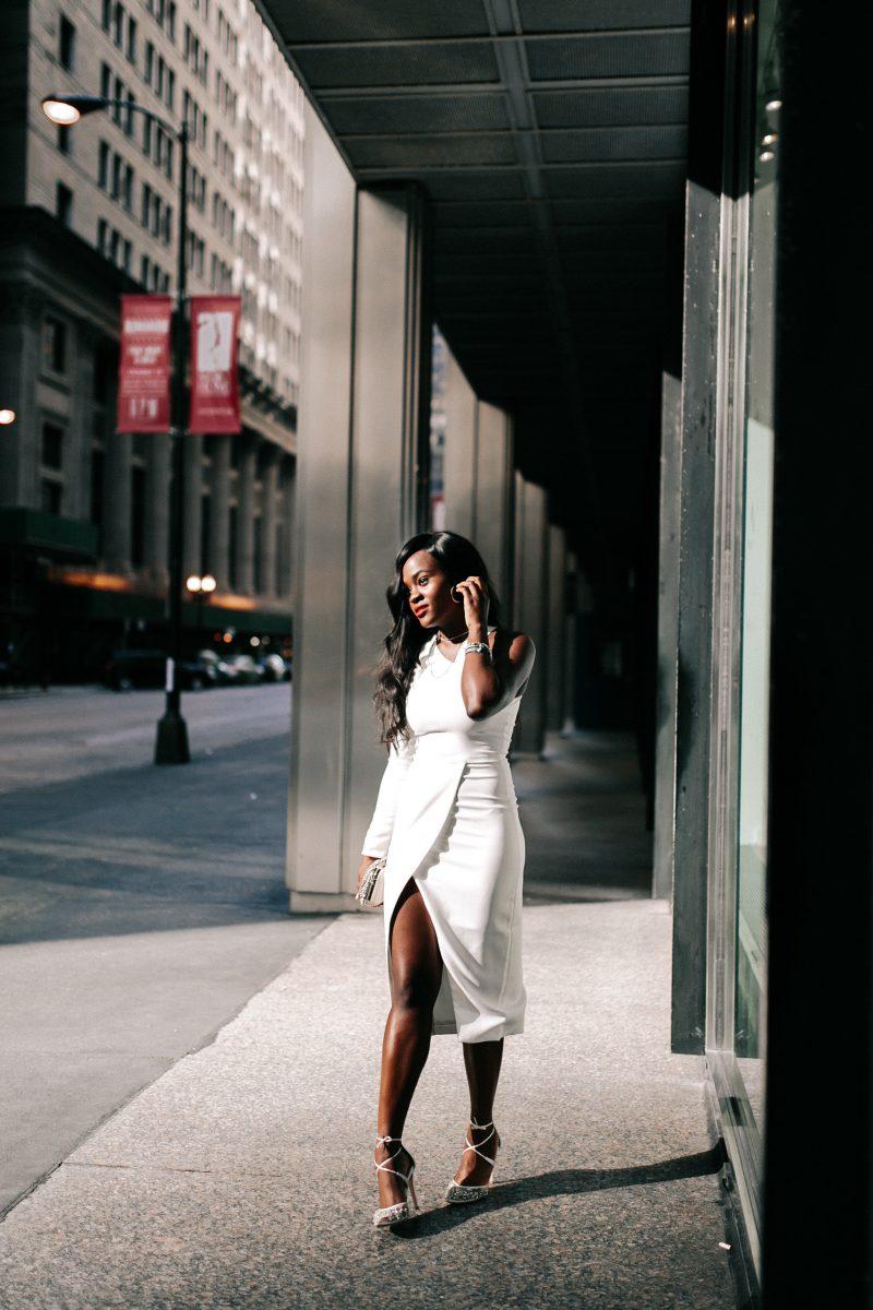 White dress and David Yurman jewelry