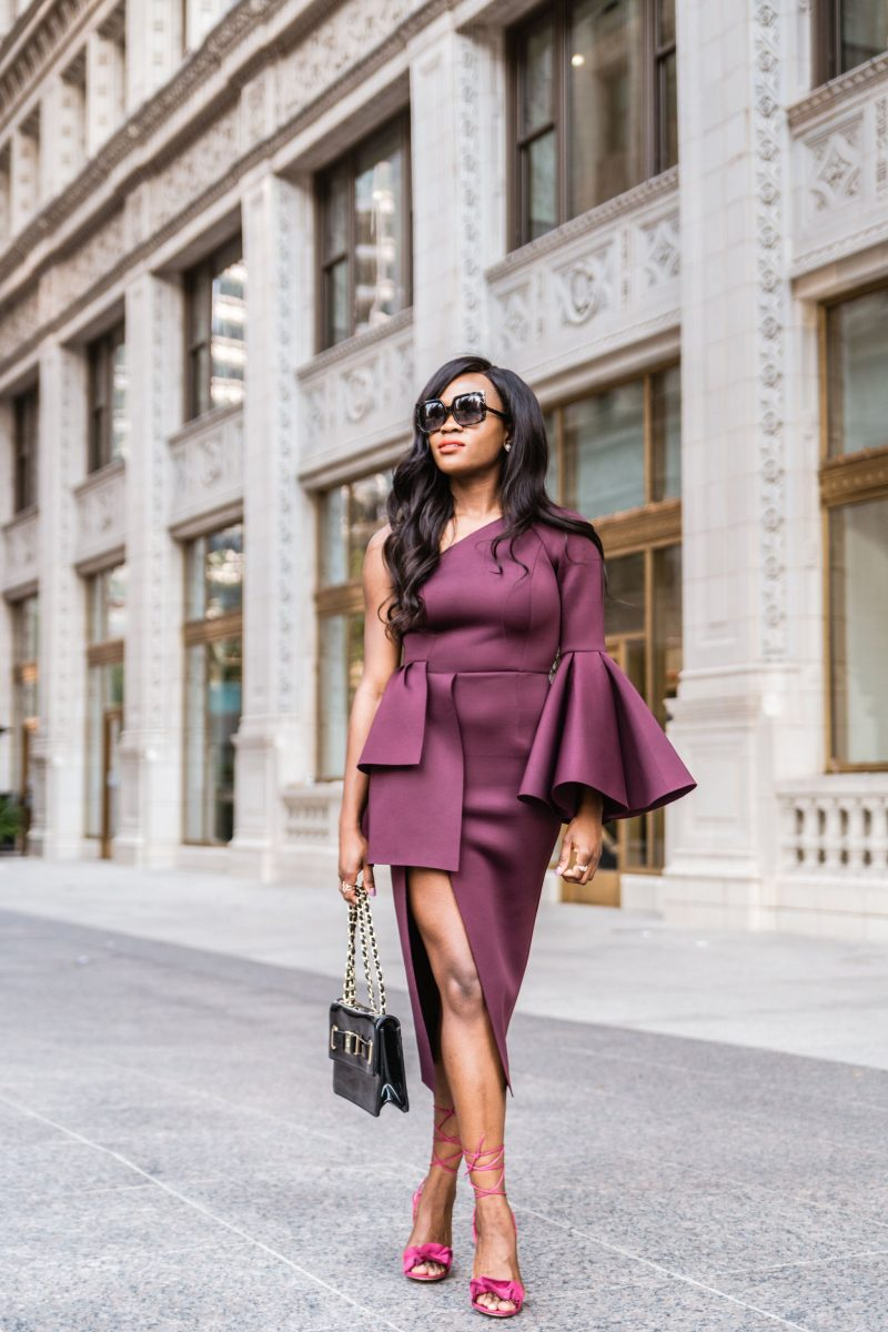 One Shoulder Sleeve Drama Peplum Midi Dress