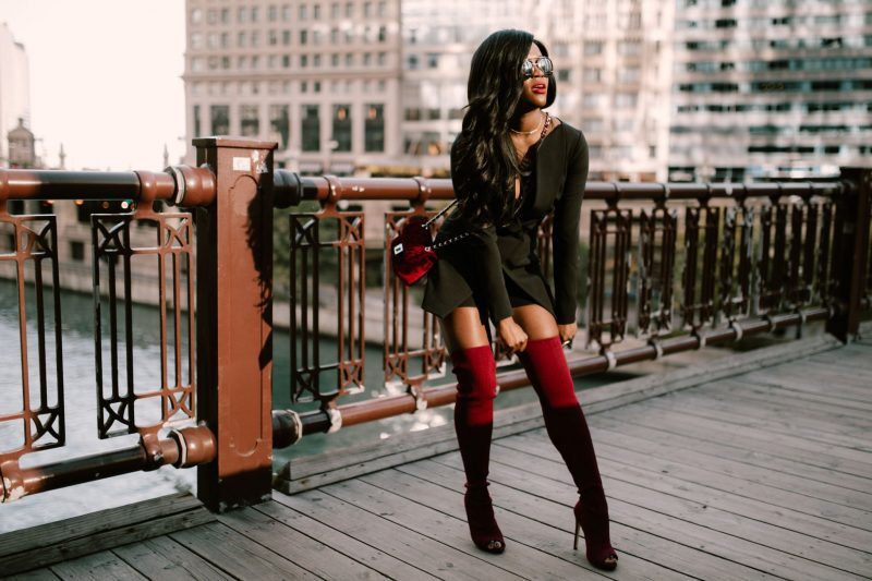 Black Tuxedo Romper, Jennifer Ibe, Cranberry Tantrums, Red Thigh High Boots