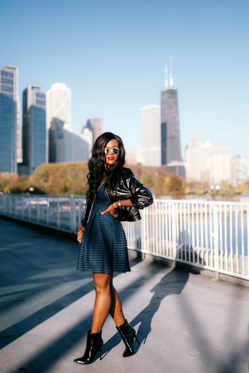 Gordman's blue dress and leather leather jacket, Cranberry Tantrums, Jennifer Ibe, Chicago Blogger