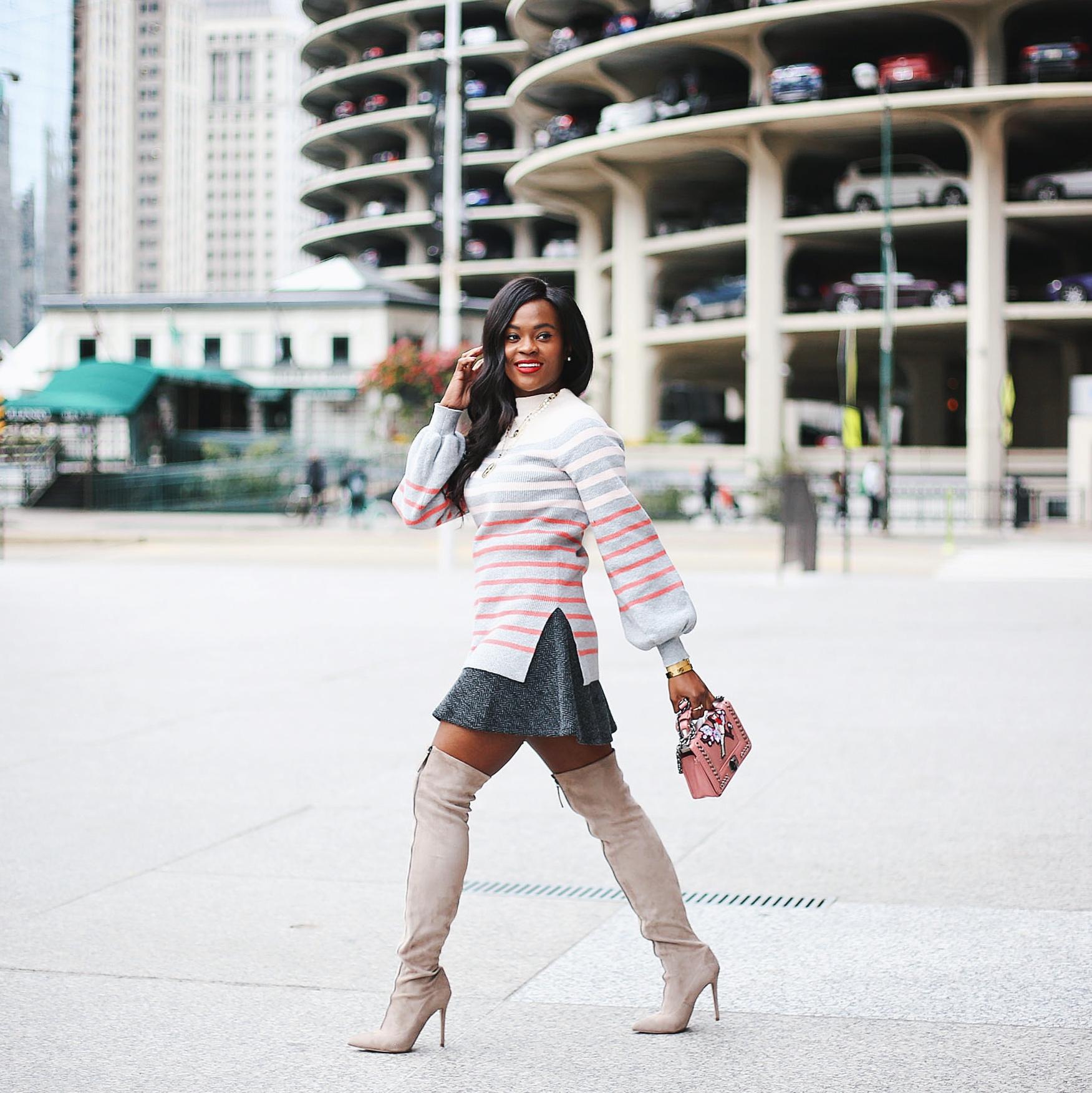Loft Striped Blouson Sweater