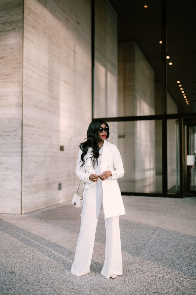 Cranberry Tantrums, White Jumpsuit and White coat, Jennifer Ibe, C/meo collective white jumpsuit