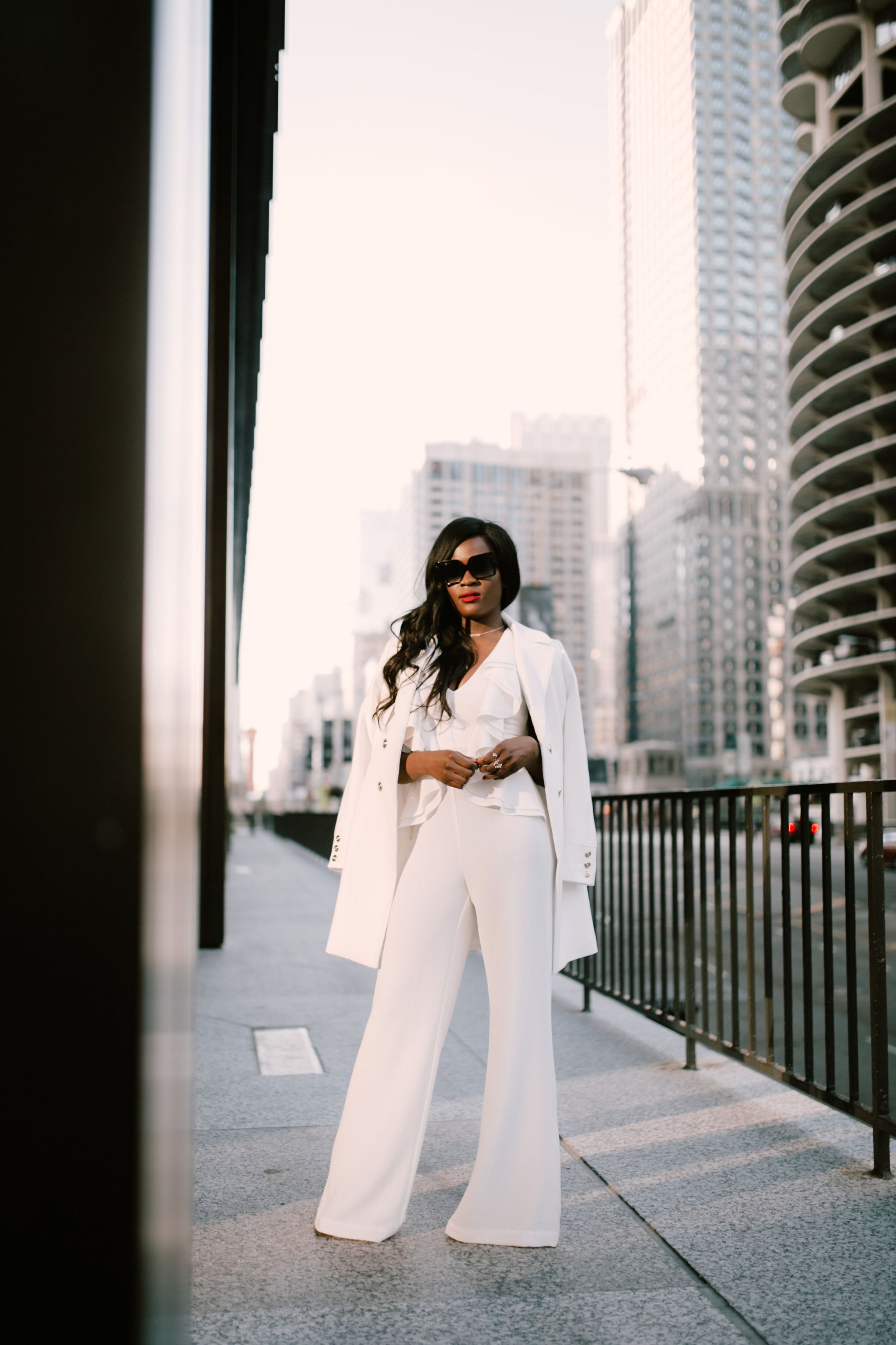 All white look, Winter whites, white jumpsuit and white coat, Cranberry Tantrums