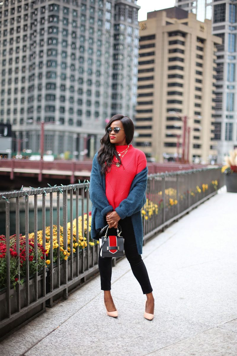 Loft Red Sweater and Blue Cardigan