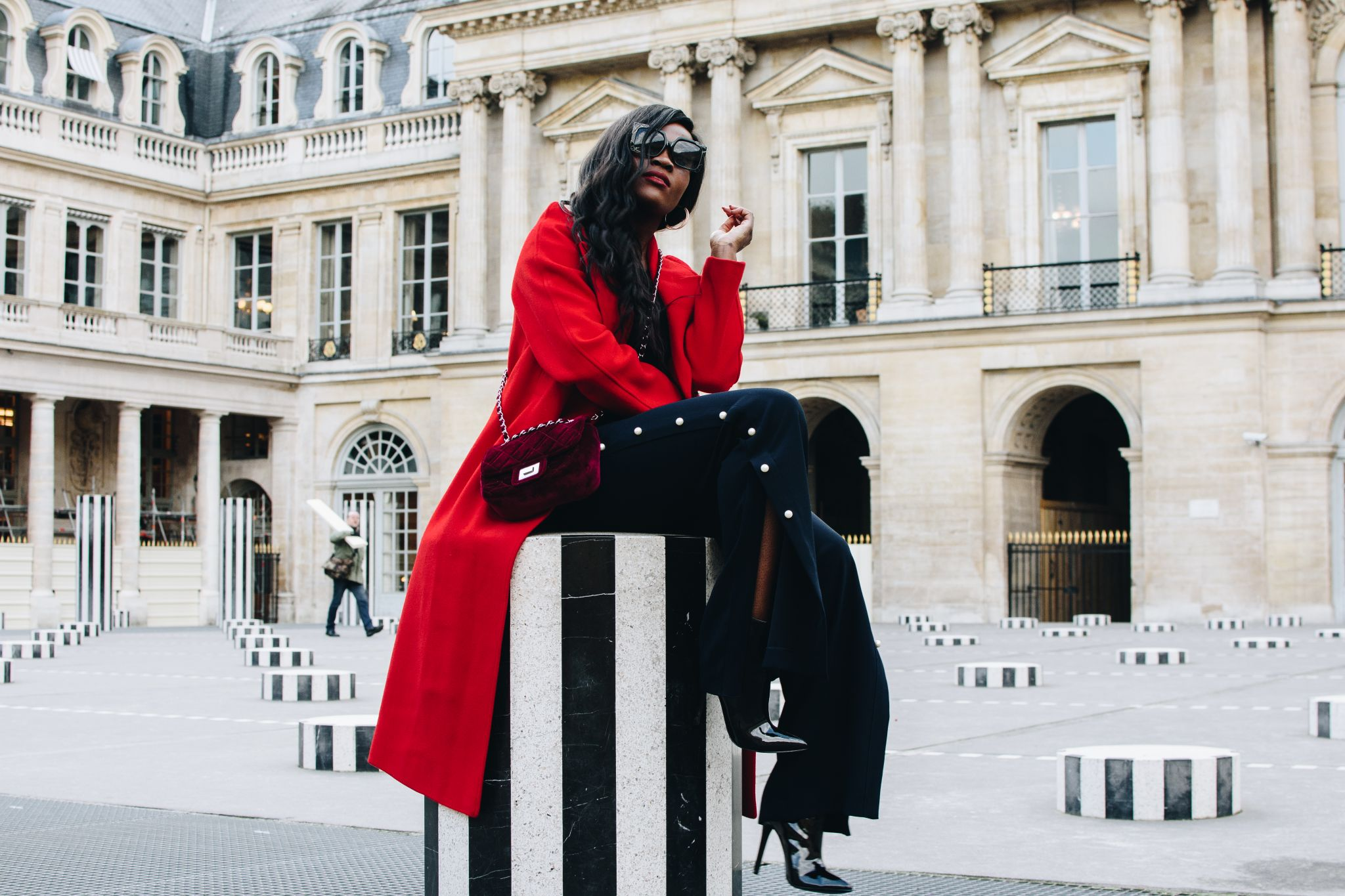 Cranberry Tantrums, Jennifer Ibe, Paris, Palais Royale, Red Coat and Wide leg Pants,