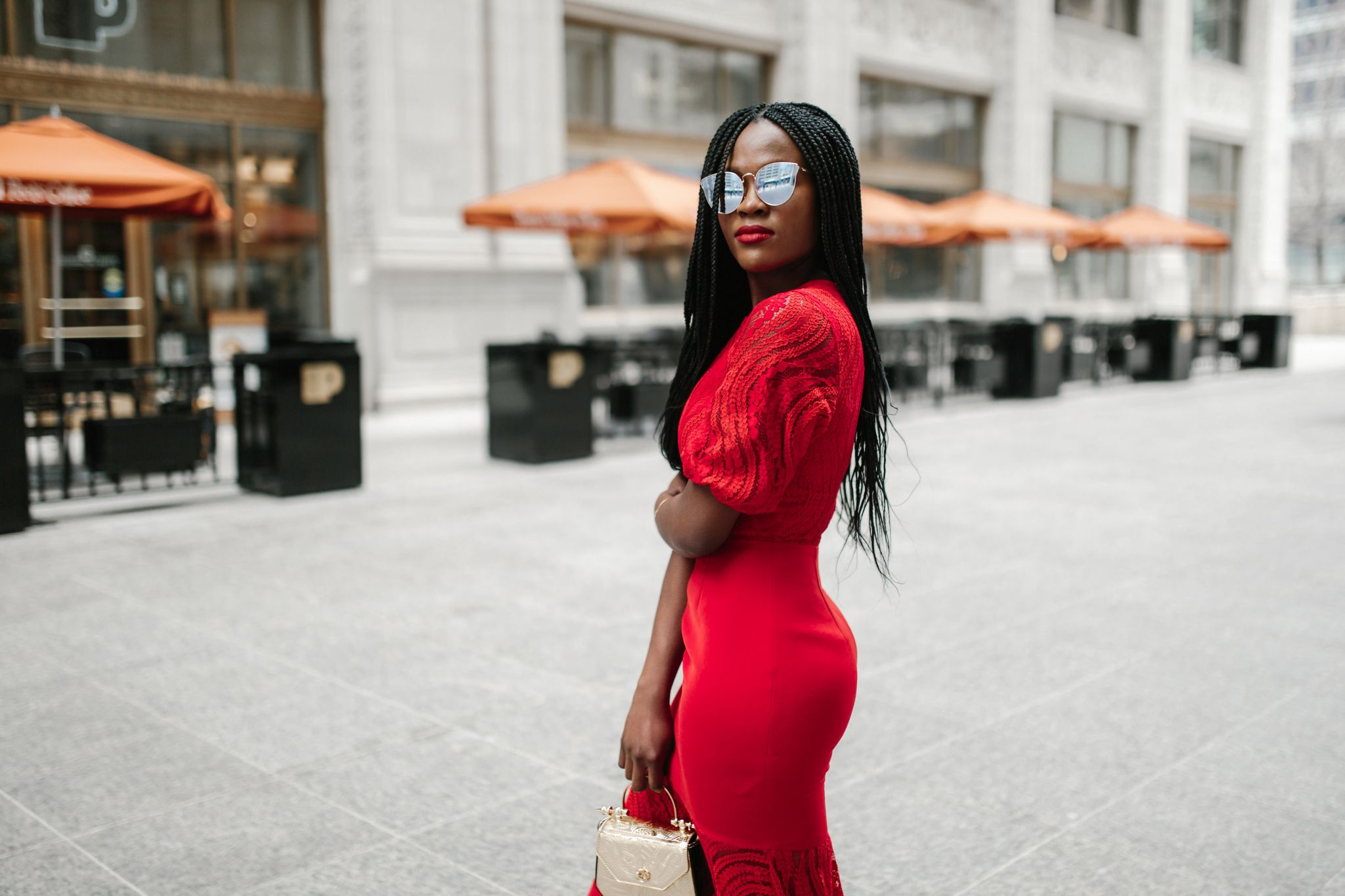 Red Dress, Keepsake Midi Dress; Jennifer Ibe, Cranberry Tantrums
