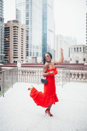 Cranberry Tantrums, Jennifer Ibe; Red Midi dress