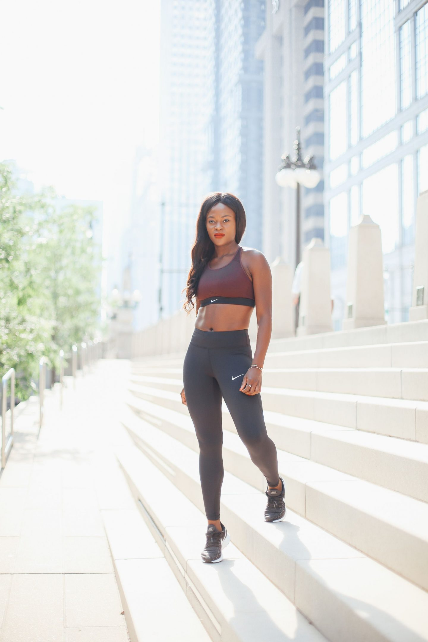 head to toe Nike. Nike impact strappy sports bra, Nike tights and NikeAir zoom pegasus