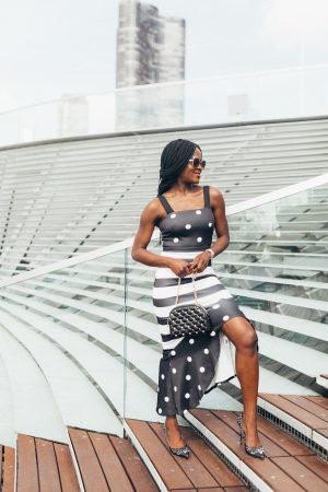 Polka dot and striped dress