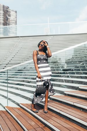 black and white polka dot & stripes dress