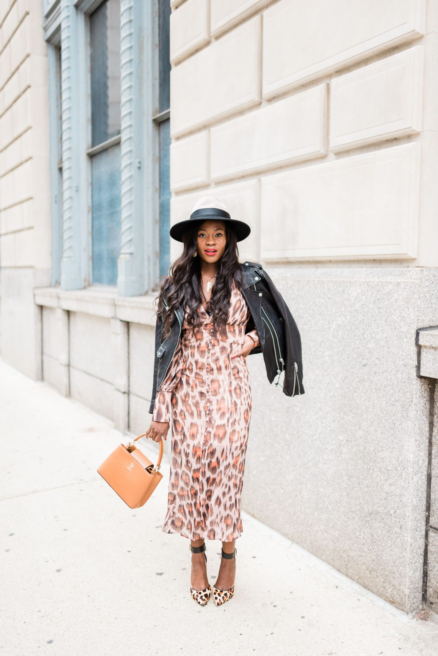 Leopard print dress and black Jacket