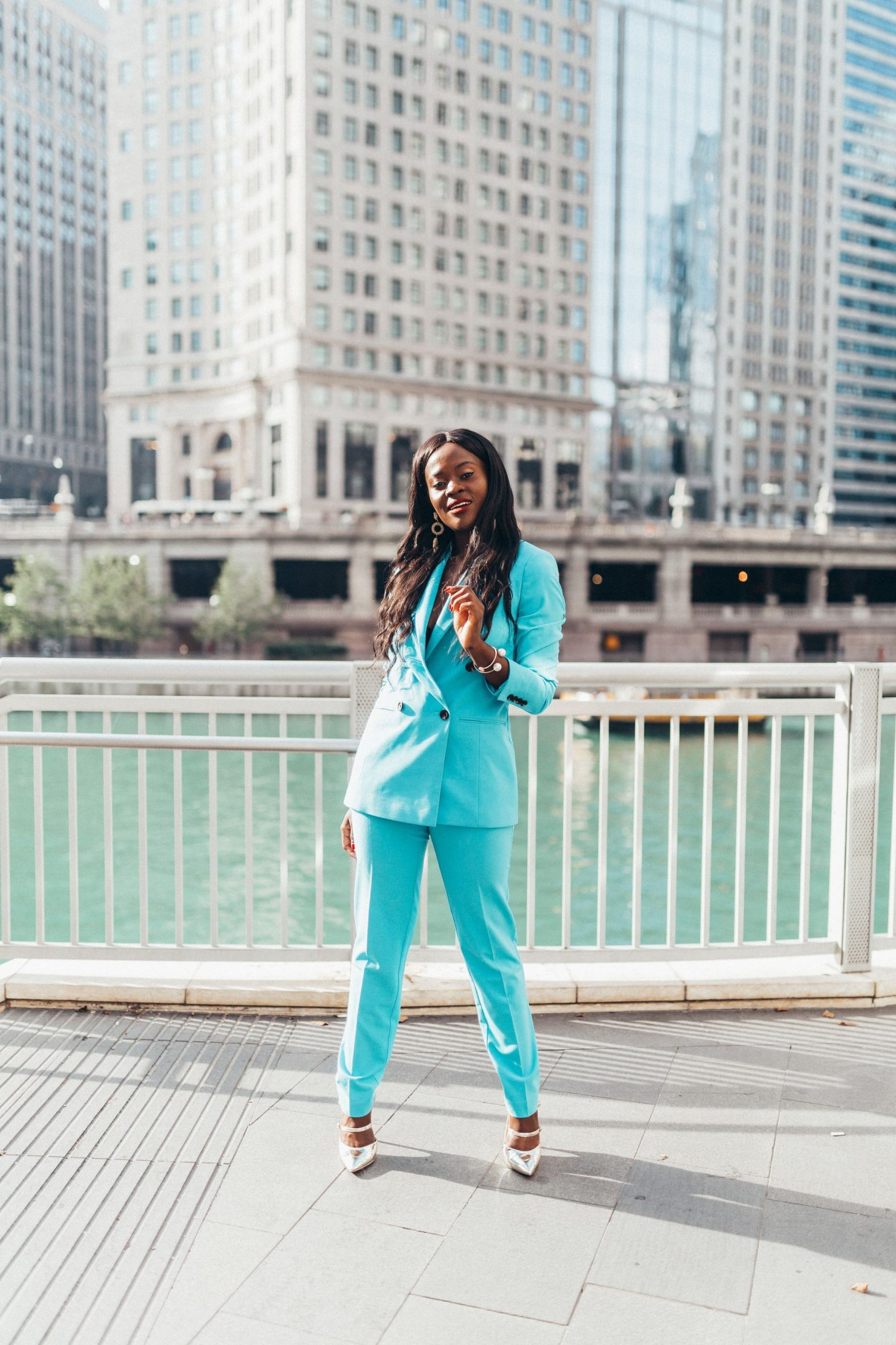 Jennifer Ibe in Blue Pant suit