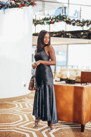 Black satin dress for the holidays