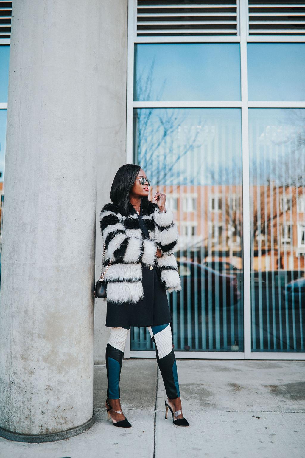 Black and white fur coat