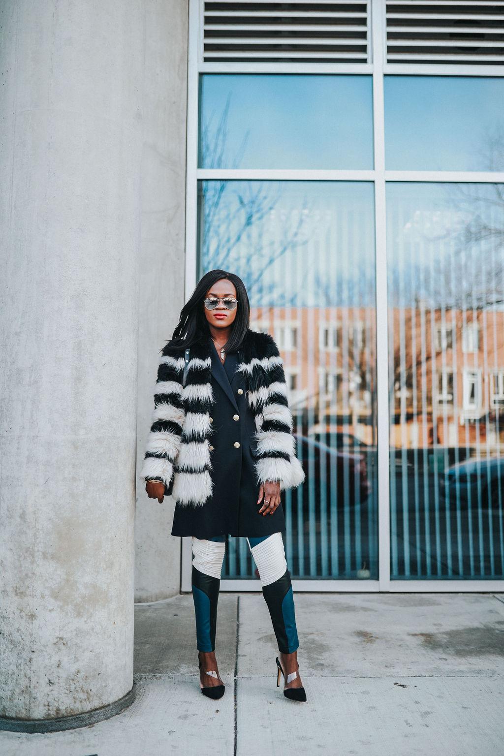 Statement Pieces: Faux coat and color block pants