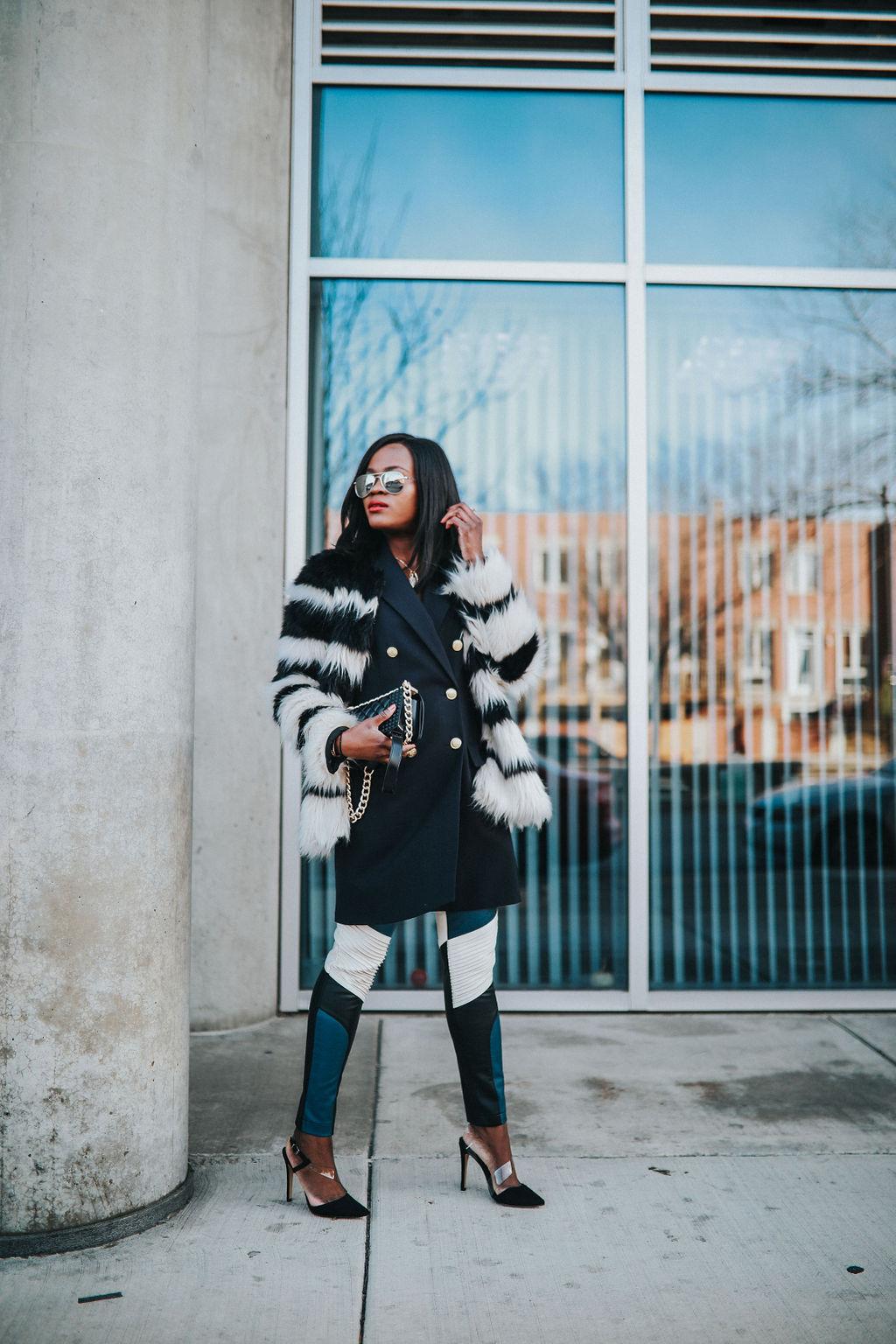 Statement pieces: Striped Faux Fur coat