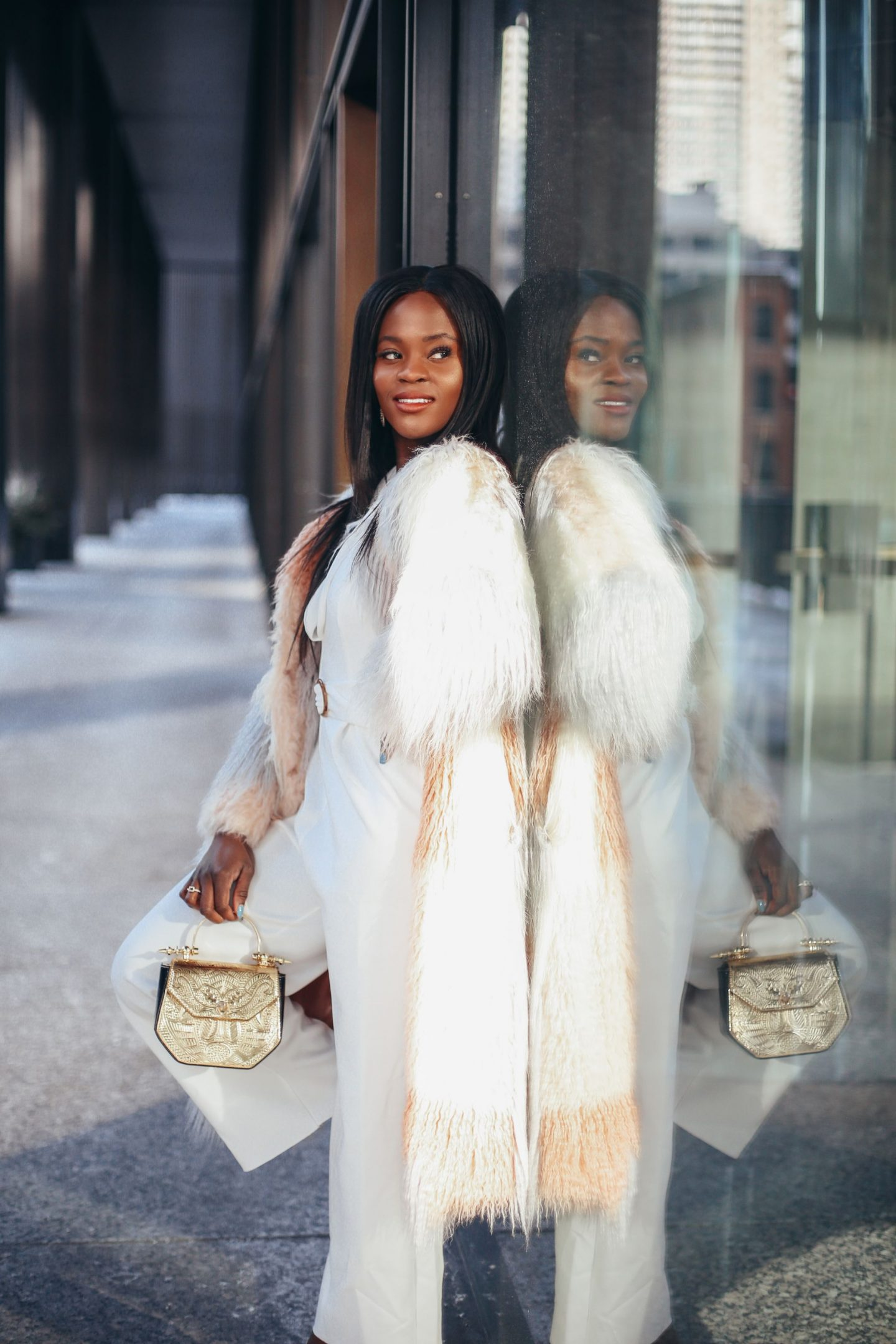 White and pink shaggy faux fur coat