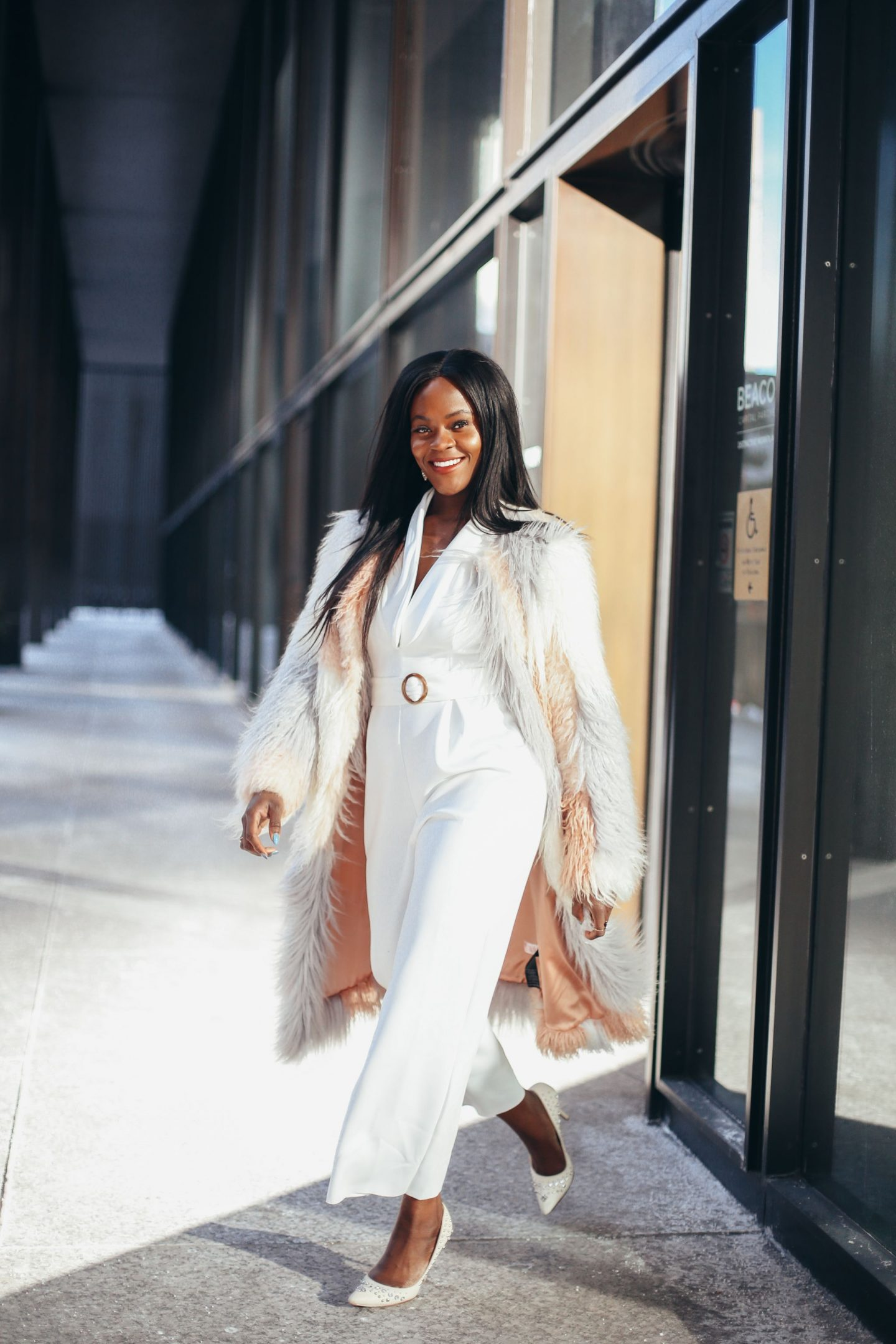 Transitional style: White jumpsuit