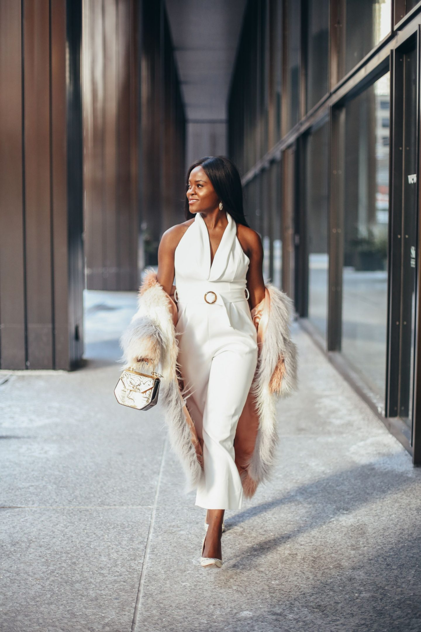 white jumpsuit, transitional style