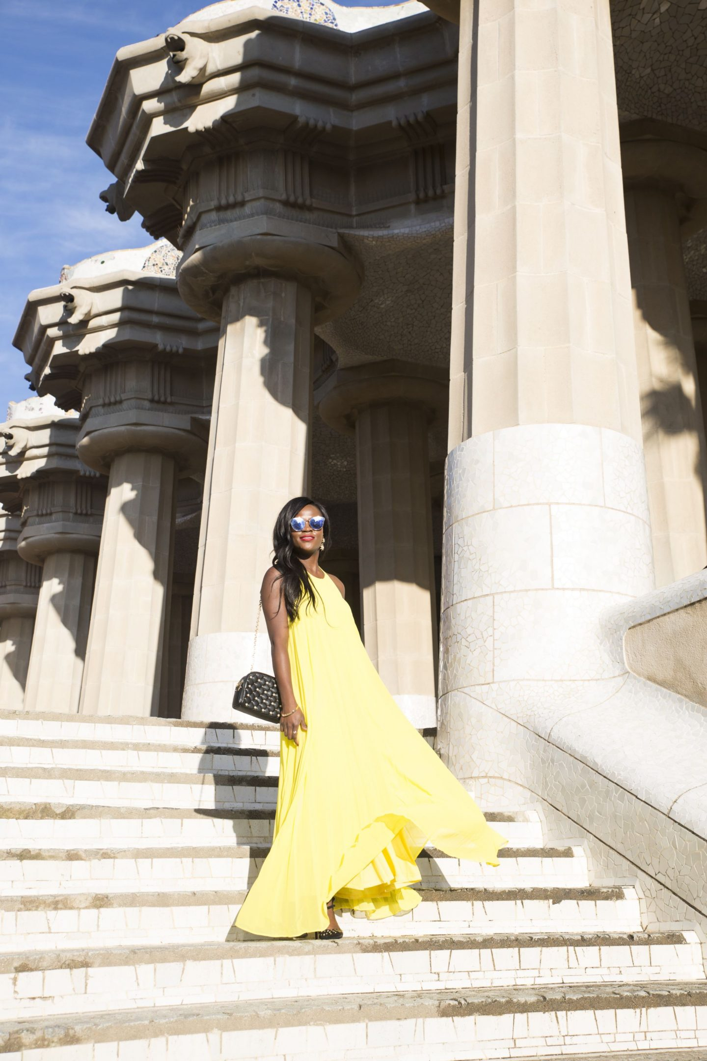 Yellow dress in Park Güell