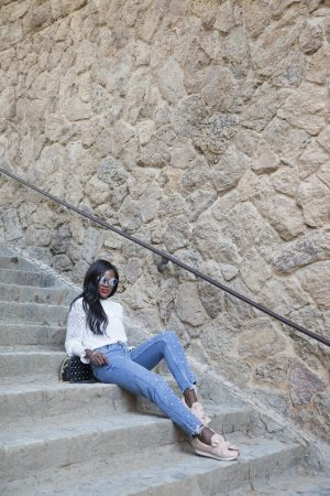 Lounging on the steps of Park Guell, Barcelona
