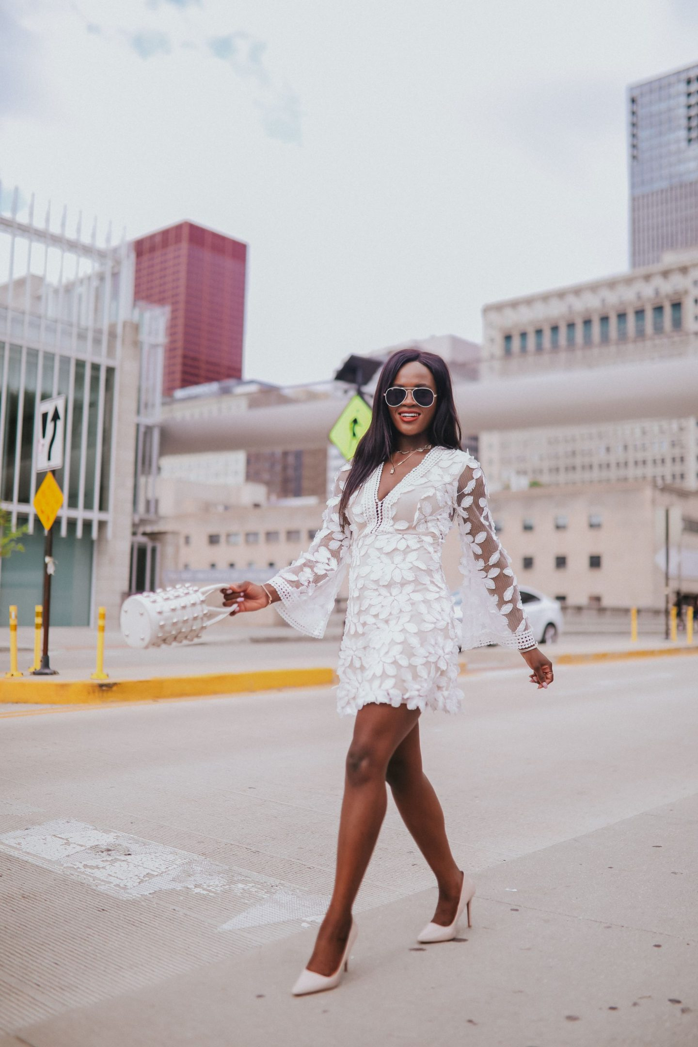 How to pull off an all white look; Lace white dress