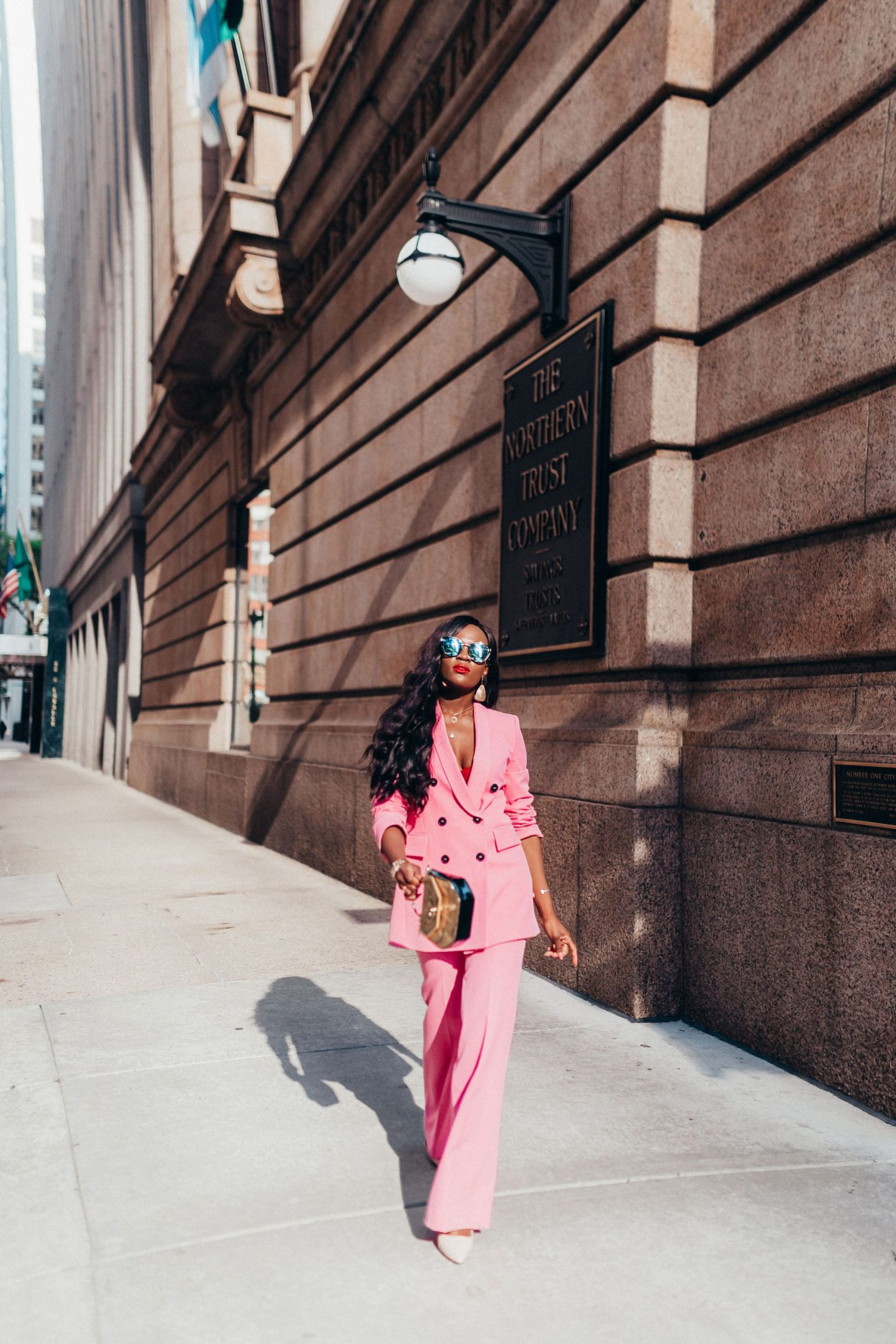 Jennifer Ibe in Chicago wearing Pink Pant suit