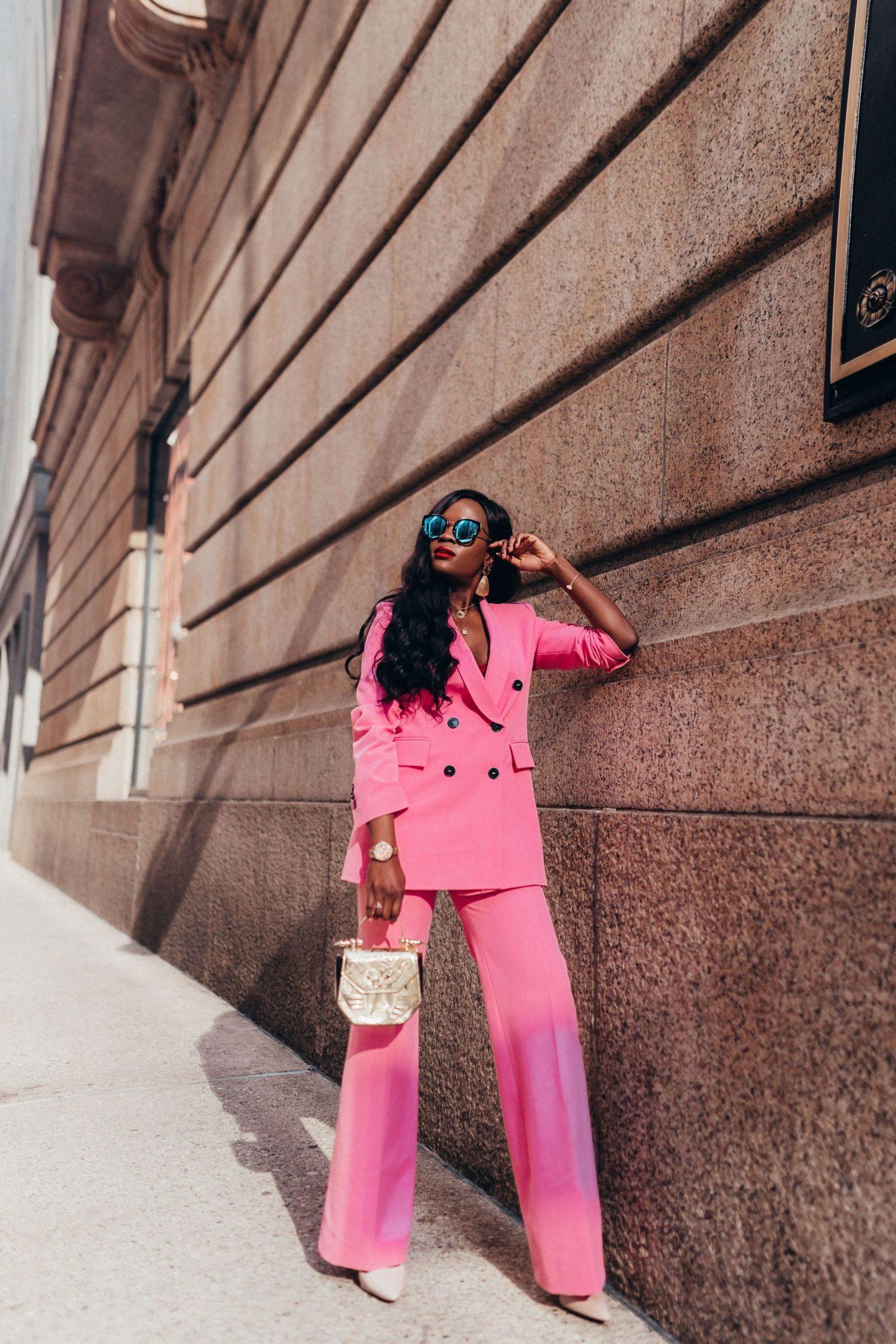 Coordinates: Pink pants and pink blazer