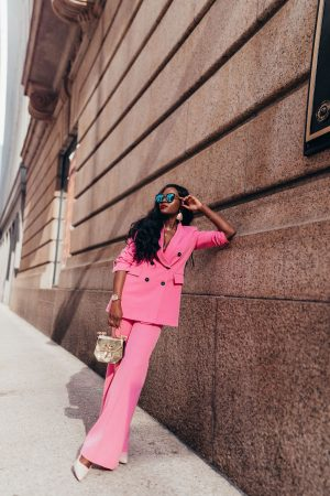 Pink power suit, Cranberry Tantrums, Jennifer ibe