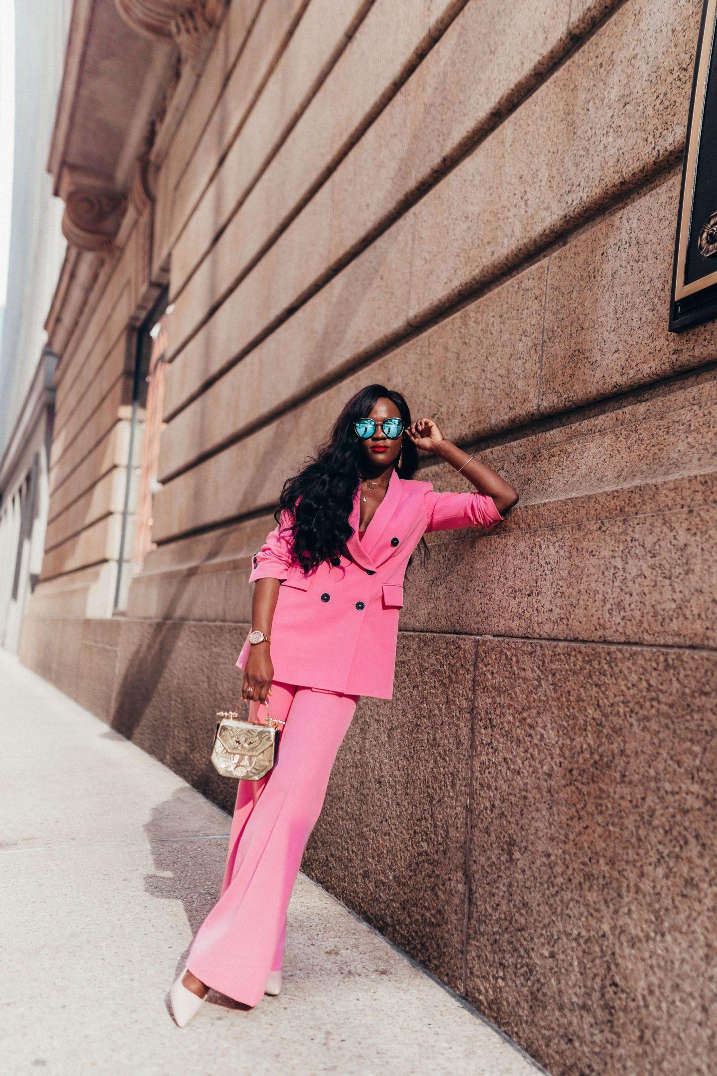 Pink power suit, Cranberry Tantrums, Jennifer ibe