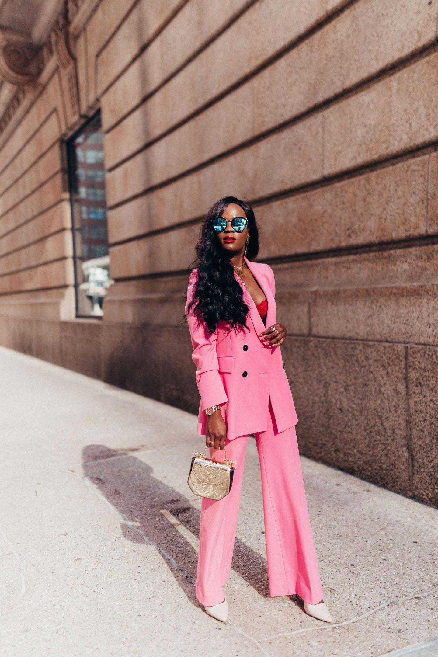 Coordinates, Pink blazer and pink wide leg pants