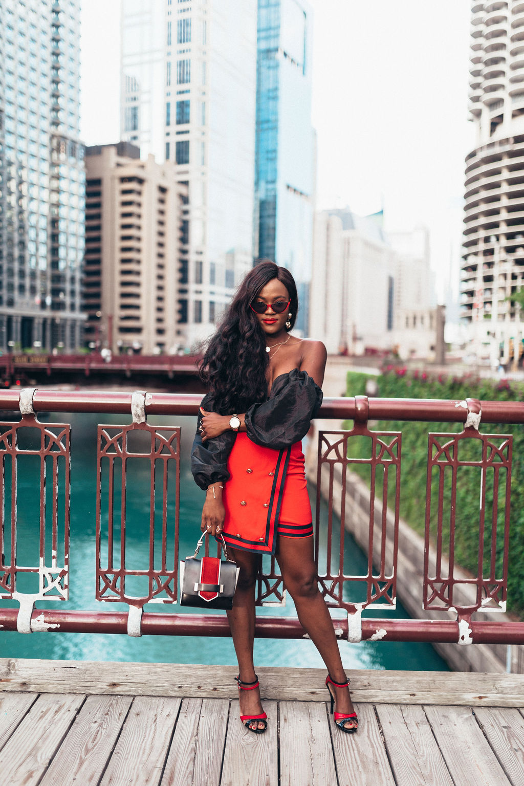 How to wear the red and black color combo with an off shoulder top