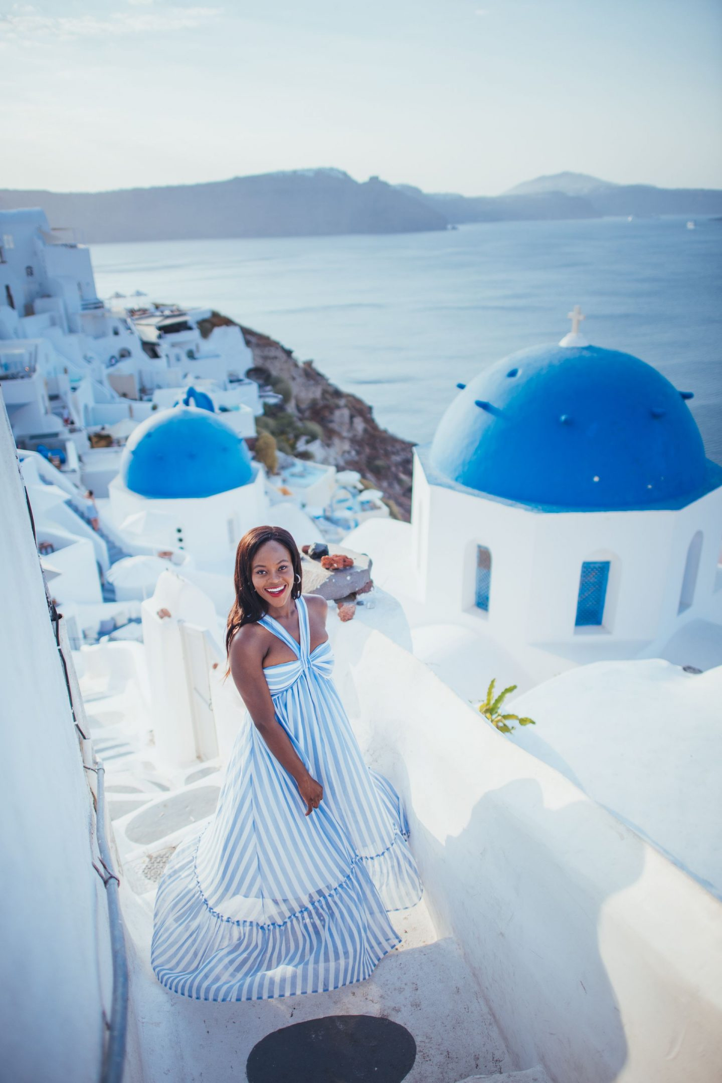 What to wear in Santorini. Blue and white striped dress. Jenn Ibe.  Cranberry Tantrums