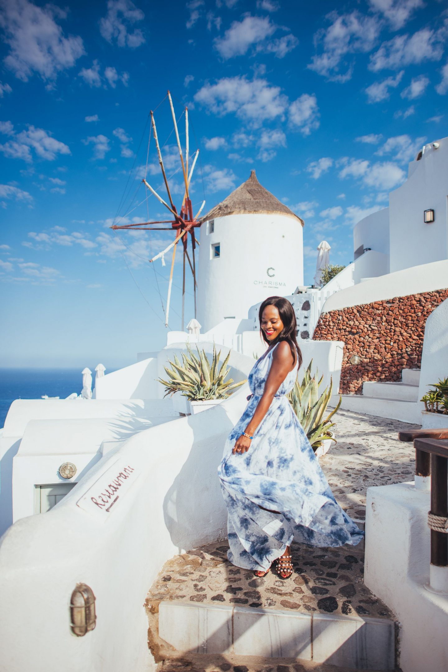Blue and white dresses to wear in Santorini