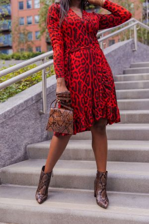 How to style ankle boots with a red leopard dress