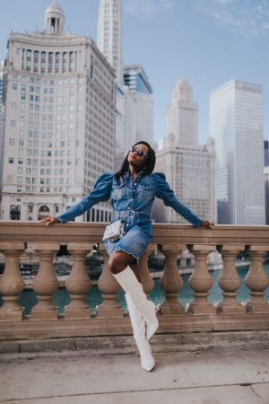 The perfect puff sleeve denim dress for Fall; Jenn Ibe; Cranberry Tantrums