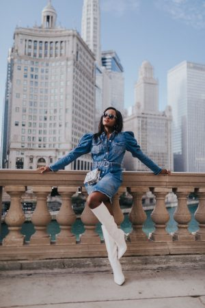 Jenn Ibe, Cranberry Tantrums, How to wear a denim dress for fall