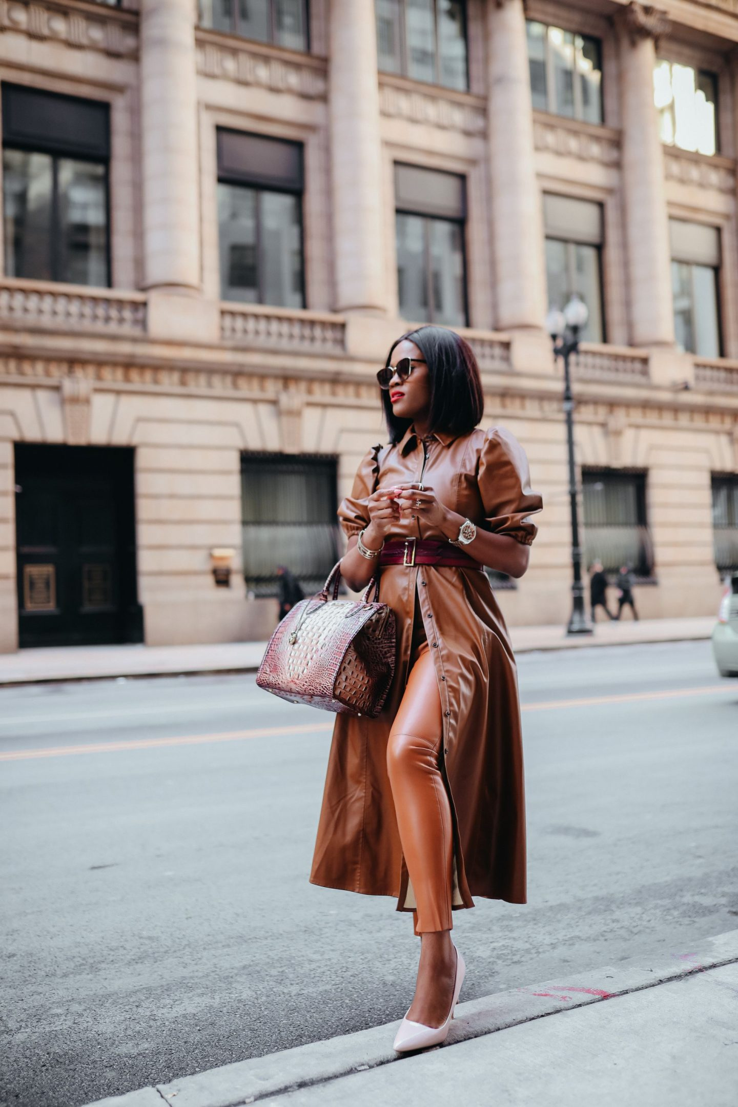 How to wear brown leather in the Fall/ Winter months