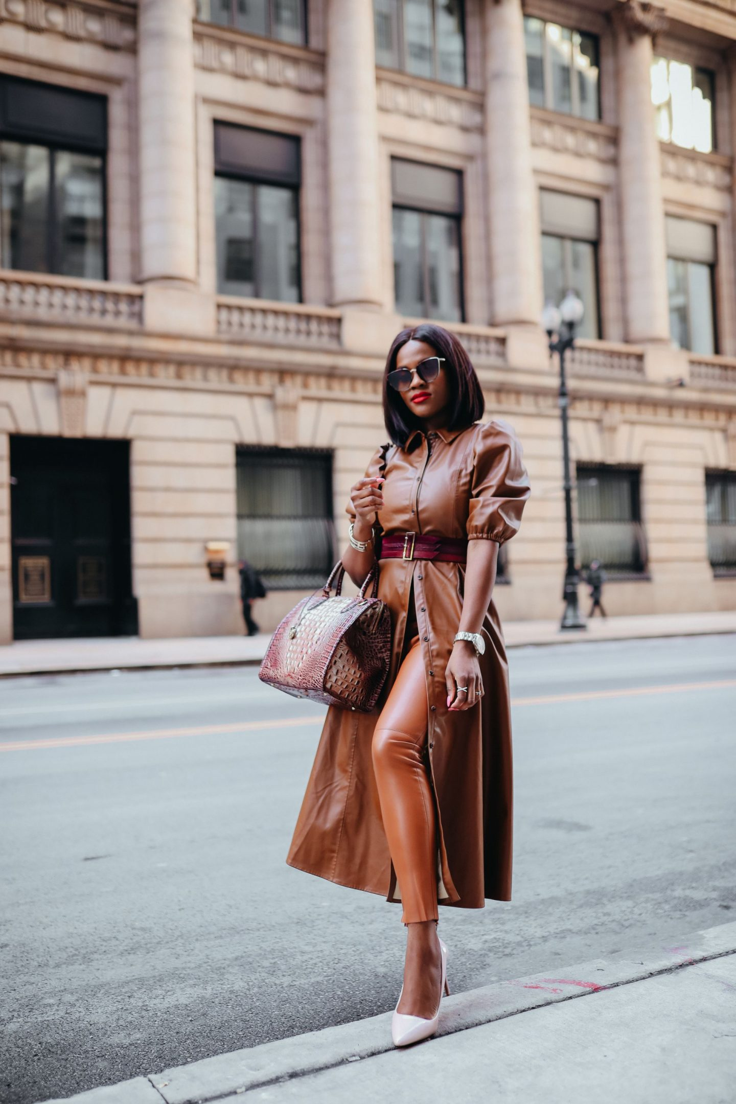 How to wear the brown leather trends; FAUX LEATHER SHIRT DRESS