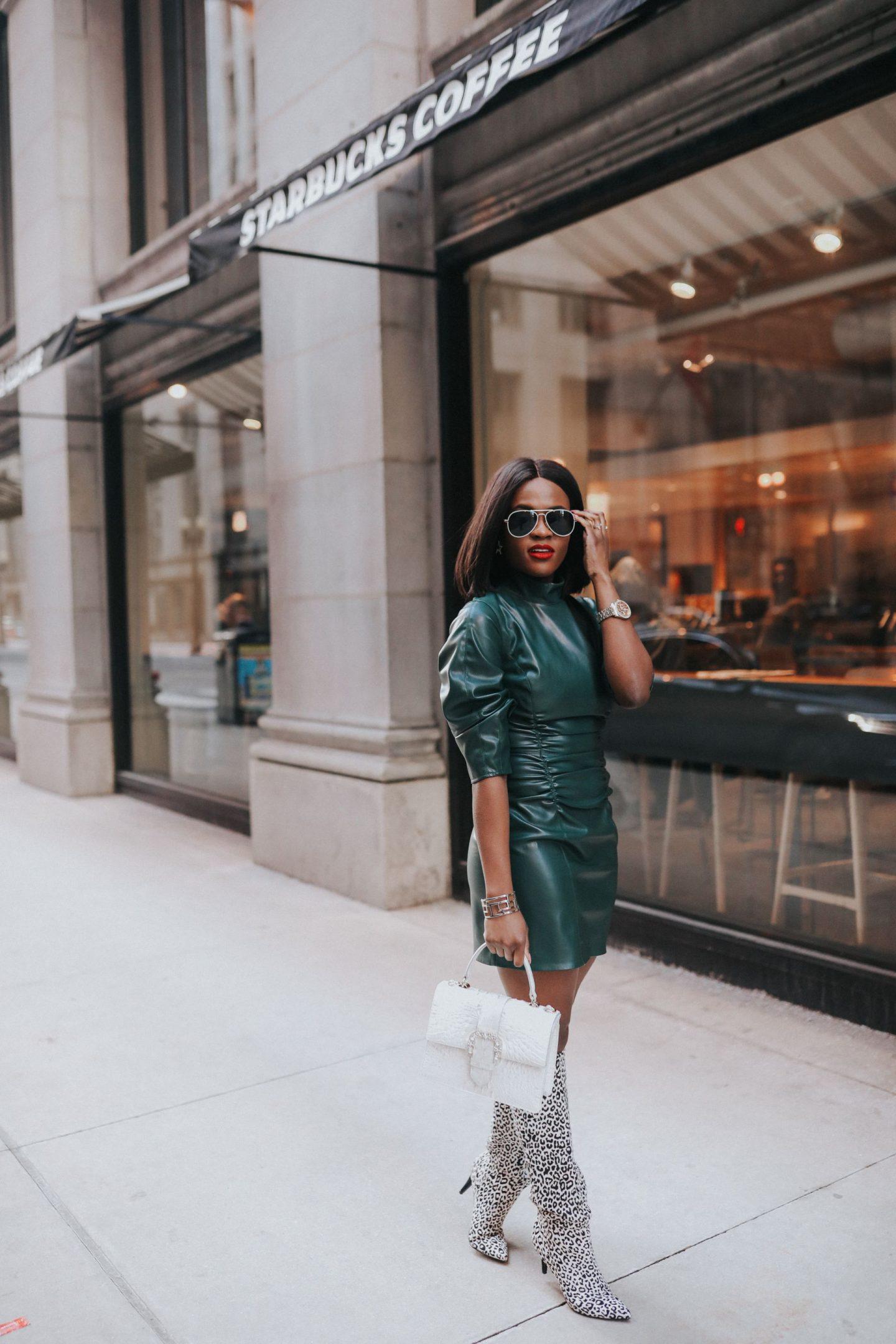 Cranberry Tantrums: green vegan leather dress