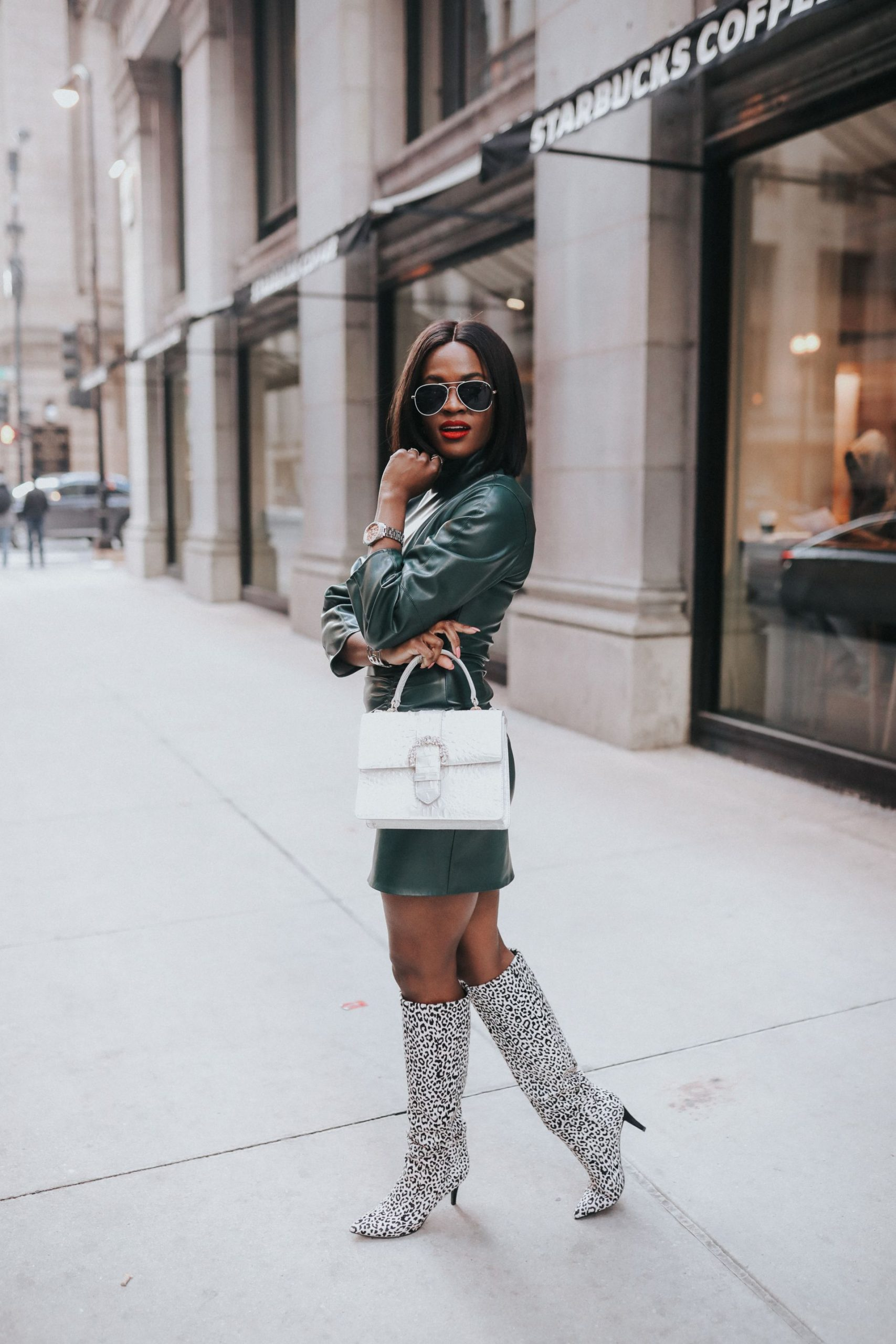 How to style a little faux leather dress