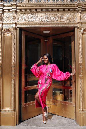 Statement pink midi dress