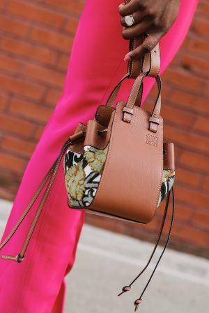 Designer clearance items : Loewes Mini Hammock Floral Leather Hobo