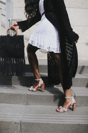 Scoop sandal and Macrame tote.