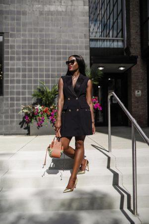 Versace Black tuxedo dress