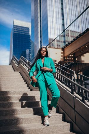 chic vibes in a power suit and sneakers