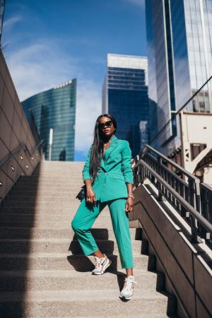 How to wear a green power suit
