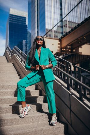 Green power suit with sneakers